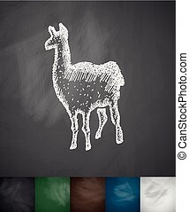lama icon Hand drawn vector illustration Chalkboard Design
