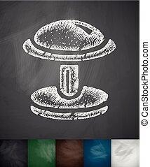 cufflink icon. Hand drawn vector illustration. Chalkboard...