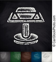 cufflink icon. Hand drawn vector illustration. Chalkboard...