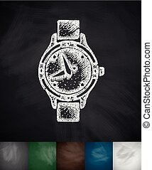 watch icon. Hand drawn vector illustration. Chalkboard...