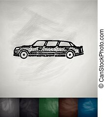 limousine icon. Hand drawn vector illustration. Chalkboard...