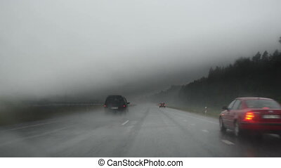 highway rain terrible - the rain falls in torrents terrible...