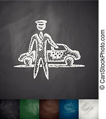 the parking icon. Hand drawn vector illustration. Chalkboard...