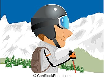 skier standing amongst snow capped mountains - illustration...