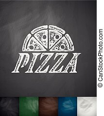 pizza icon. Hand drawn vector illustration. Chalkboard...