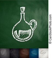 decanter icon. Hand drawn vector illustration. Chalkboard...