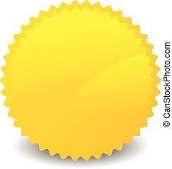Isolated yellow, orange starburst shape with blank space....