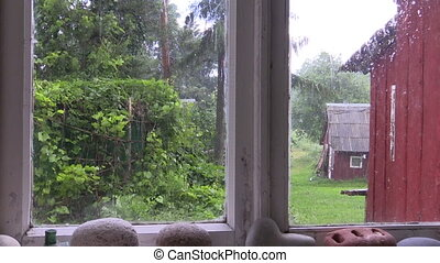 Rainy day window view - Rainy day shot from rural homestead...