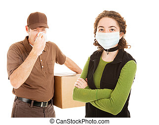 Delivering the Flu - Delivery man delivers flu along with a...