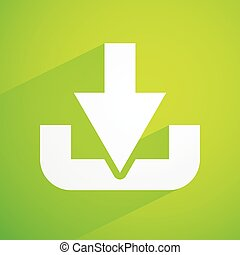 Bright green background, illustration with download symbol,...
