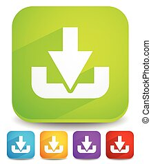 Download button or icon with arrow pointing to a hard drive...
