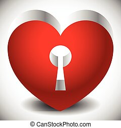 Single heart with keyhole in it Metallic 3d effect and...