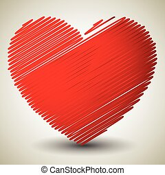 Vector graphics with red heart Eps 10