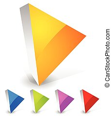 Bright and glossy play button icons in 3d. Orange, blue, green, purple and red colors.