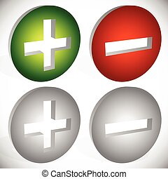 Set of plus minus, add remove signs, symbols or icons. Vector graphics.