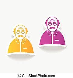realistic design element senior citizens