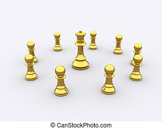 Chess Gold - A group of golden Chess figure