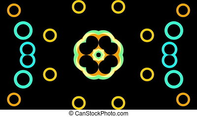Multi-colored shimmering circles on a black background