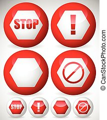Various stop, attention or warning signs Vector
