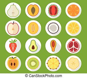 Fruit icon set with long shadow - Vector fruit icon set with...