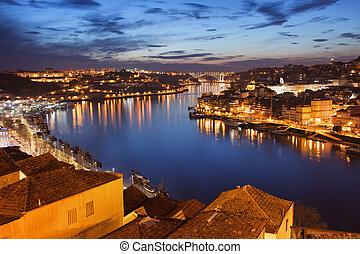 City of Porto at Night in Portugal.