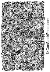 Ethnic floral retro zentangle doodle background pattern...