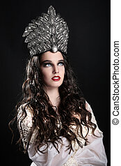 Fashionable Woman Wearing High End Head Piece - Stunning...