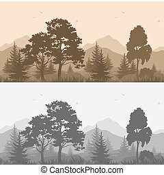 Seamless Mountain Landscape with Trees Silhouettes