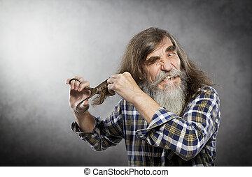Old Man Scissors Cutting Hair, Senior Self Trim Long Hair -...