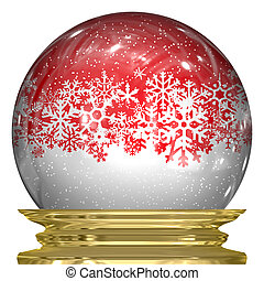 Crystal Snow Globe - 3d snow globe with snow flakes floating...