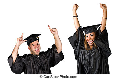Graduates Celebrating - Two recent graduates posing in their...