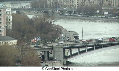 Urban landscape. Traffic on bridge in city - Urban...