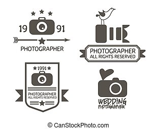 Photography Badges and Labels in Vintage Style - Set...