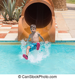 child in the water Park