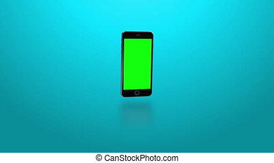 Smartphone turns on.Blue background - Easily customizable...