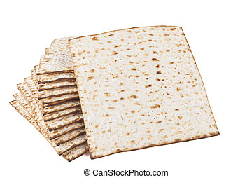 Matza Standing - Matzot for pesach isolated on white...