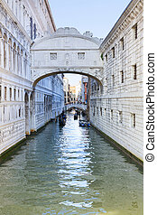 Venice, Italy - The Bridge of Sighs, Ponte dei Sospiri, in...