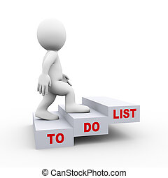 3d man to do list steps - 3d illustration of man climbing on...