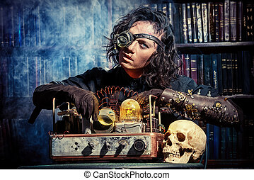 futurism - Portrait of a man steampunk in his research...