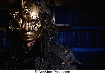 golden mask - Steampunk man wearing mask with various...