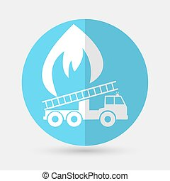 fire engine icon on a white background - Vector illustration...