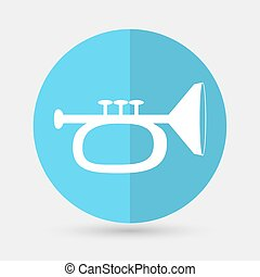 illustration of trumpet on a white background - Vector...