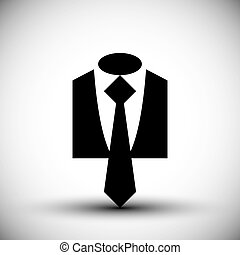 Cloth icon, vector illustration of suit with a tie, business man icon.