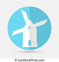 Mill icon isolated on blue background Vector illustration