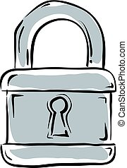 Vector illustrated padlock isolated on white background.