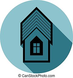 Simple house detailed illustration. Vector icon, real estate emblem.  Building modeling and engineering projects abstract symbol.