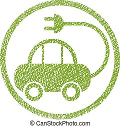 Green ecological electric car sign with hand drawn lines texture.