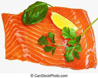 Fresh salmon - Fresh red salmon fish close up of a piece to...