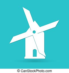 Mill icon isolated on blue background. Vector illustration.