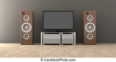 Easy listening - 3D Illustration. Speakers in a living room.
